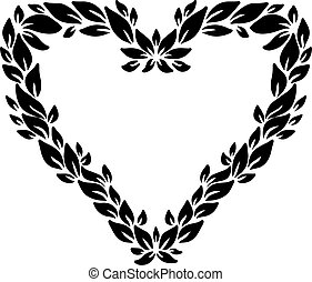Eco style print. Leaves heart frame. Eco friendle black pattern with copyspace. Vector illustration.