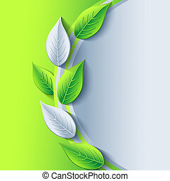 Eco stylish background with green and gray leaves