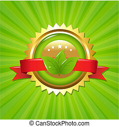 eco, sunburst, etikett