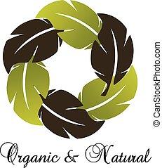 eco, sunde, grønne, det leafs, logo