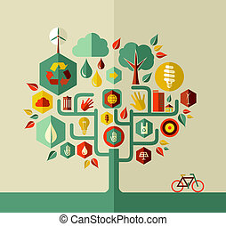 Eco conservation city conceptual tree design. Vector file layered for easy manipulation and custom coloring.