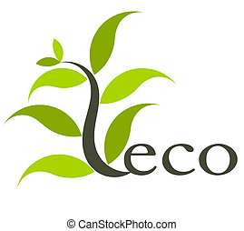 Eco symbol - Environmental eco icon with plant. Vector...