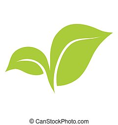Eco symbol of green leaf vector illustration isolated on white background.