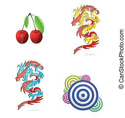 eco, symbole, abstrakt, satz, gefärbt