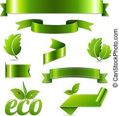 eco, symbolen, set, groene