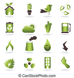 eco, symboles, et, icônes