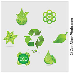 eco symbols and emblems set green color