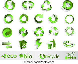 Eco  symbols - Eco, bio, green and recycle symbols