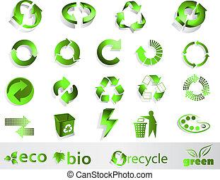 Eco symbols - Eco, bio, green and recycle symbols
