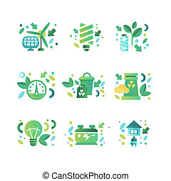 Eco symbols set, ecology cocept, environment protection, eco friendly technologies vector Illustration on a white background