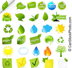 Eco Symbols Set, Isolated On White Background, Vector...