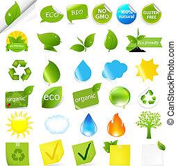 Eco Symbols Set, Isolated On White Background, Vector Illustration