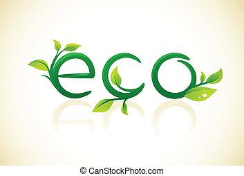 eco, symbool, -, groene, vellen, denken