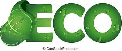 eco, symbool, met, groen blad