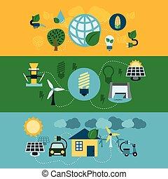 eco, szalagcímek, állhatatos, energia, horizontális