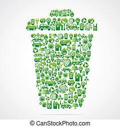 eco, tacho de basura, icono, verde, diseño