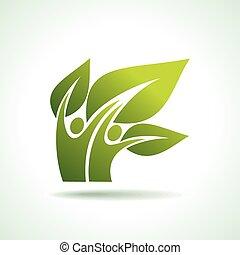 eco, tancerze, zielony, ikona