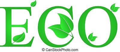 eco, tekst, liście, lustration, zielony