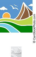 eco, terra, montagna, fiume, logotipo