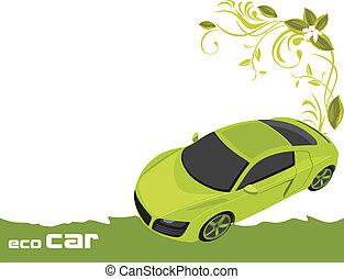 eco, tervezés, autó., transzparens