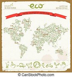 eco, tervezés, fogalom, alatt, világ térkép, alakít