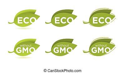 eco, texte, feuilles, ensemble, vecteur