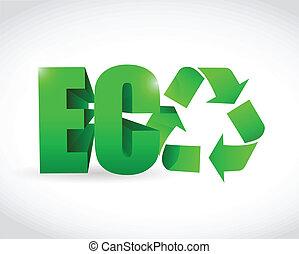 eco, texte, illustration, conception, recycler, 3d