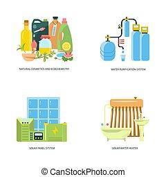 eco, thuis, infographic, vriendelijk