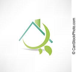 eco, thuis, pictogram