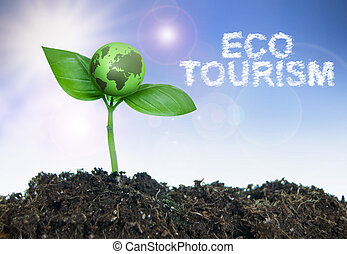 Eco tourism word cloud next to a small green world growing...