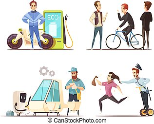 Eco Transport Concept Cartoon Icons