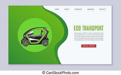 Eco transport e-car ecological electromobile concept web vector template with illustration. Electric auto with battery powered e-car on green website.