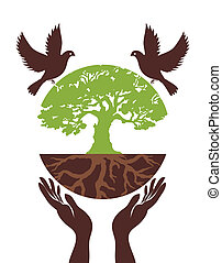 Eco Tree with bird and hand. Vector Illustration