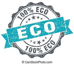 Eco turquoise grunge retro vintage isolated seal