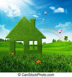 eco, umwelt, abstrakt, house., hintergruende