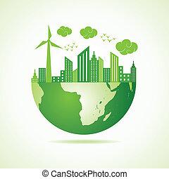 eco, város, fogalom, zöld földdel feltölt