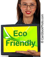 eco, vänskapsmatch, dator meddelande, som, symbol, för,...