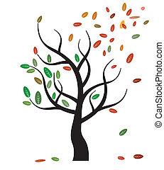 eco, vecteur, arbre