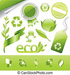 eco, vecteur, collection, signes