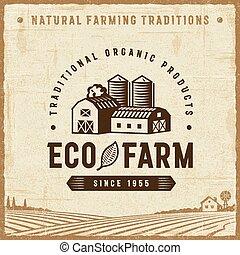 eco, vendemmia, fattoria, etichetta