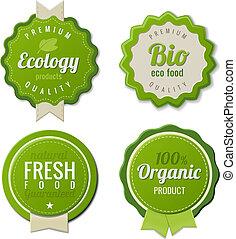eco, vendimia, etiquetas, bio, plantilla, conjunto