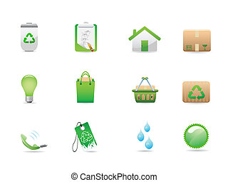 eco, verde, ícones