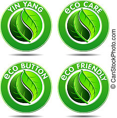 eco, verde, 2, set, icone