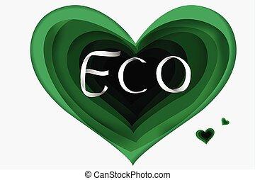 eco, verde, carta, arte, cuore