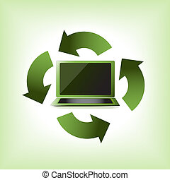 eco, verde, computador