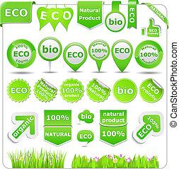 eco, verde, elementos, desenho