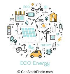 eco, verde, energía, línea fina, vector, iconos, conjunto, con, solar, batería, y, molino de viento