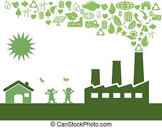 eco, verde, fábrica