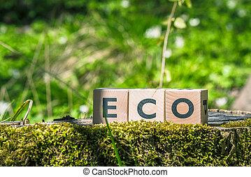 eco, verde, foresta, segno