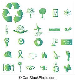 eco, verde, iconos